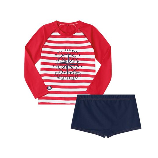 7f440fee691c Camiseta com sunga Infantil Marisol - Vermelho+Marinho