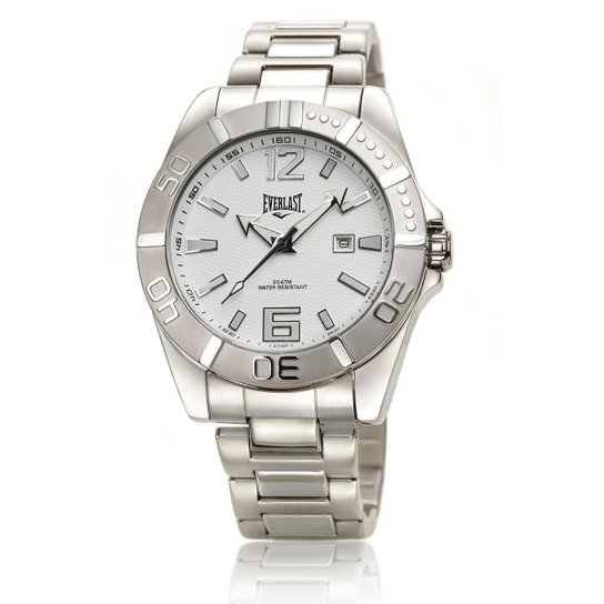 63916c59407 Relógio Everlast Masculino Cx e Pulseira Aço Analógico - Prata+Branco