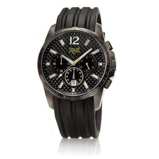 3518c872d7a Relógio Masculino Everlast Pulseira Silicone Analógico E217 - Preto+Amarelo