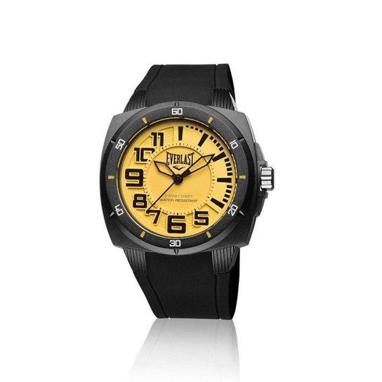 5b7c1e450 Relógio Pulso Everlast Bold E677 Caixa Abs Pulseira Silicone - Preto+Amarelo