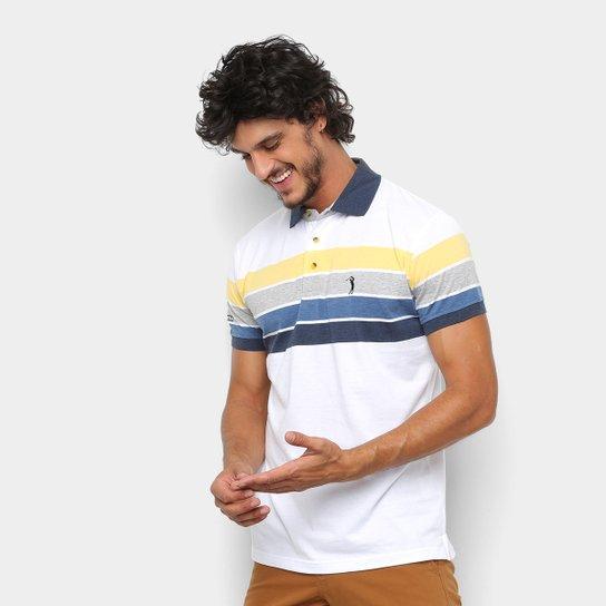 5cdf45b9f5 Camisa Polo Aleatory Fio Estampa Listrada Masculina - Branco+Amarelo