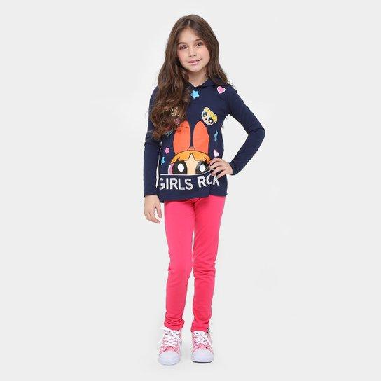 Conjunto Malwee As Meninas Super Poderosas Moletom Infantil - Marinho+Pink 339ae5faf4