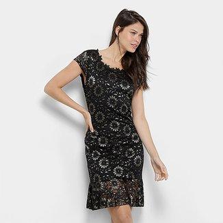 be8800ff68 Vestido Lily Fashion Curta Peplum Detalhe Babado Renda