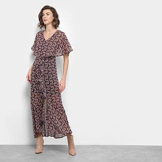 599f920467 Vestido Longo Top Moda Babado Corte V