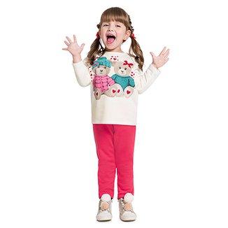 c246cf17e1 Conjunto de Moletom Infantil Kyly Ursinhos Feminino