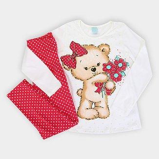 2b6c6cbbbc Pijama Infantil Kyly Longo Meia Malha Urso Brilha no Escuro Feminino