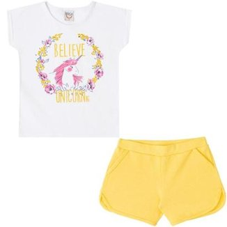Conjunto Infantil Camiseta e Shorts Unicórnio Boca Grande Feminino efa8d542140a6