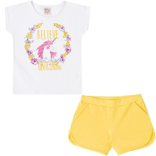 bd23cd00c268b Conjunto Infantil Camiseta e Shorts Unicórnio Boca Grande Feminino - Branco +Amarelo