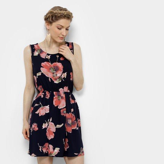 Vestido Pérola Evasê Curto Floral Regata Colar - Preto e Vermelho ... a0e24876739