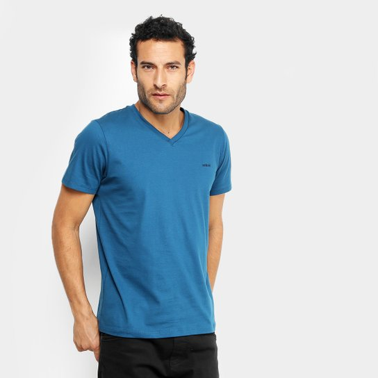 34edb7a9a2 Camiseta Colcci Gola V Básica Masculina - Azul Petróleo