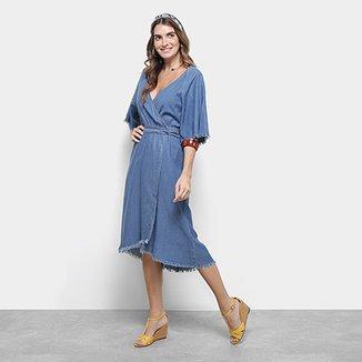 889c92b5a Vestido Jeans Cantão Midi Evasê Barra Desfiada Cachecour Blue