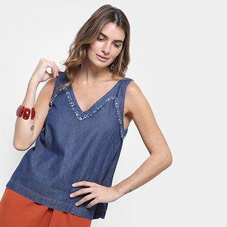 396b12b00 Regata Jeans Cantão Decote V Detalhe Defiado Feminina