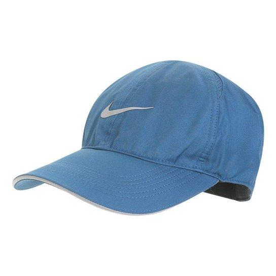 ef5d276cfe Boné Nike Aba Curva Featherlight Run - Azul Petróleo