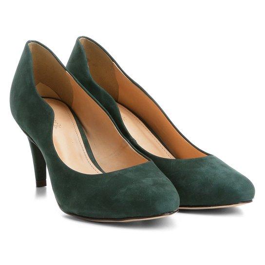 73270000a3 Scarpin Couro Shoestock Salto Médio Ondas - Verde escuro - Compre ...