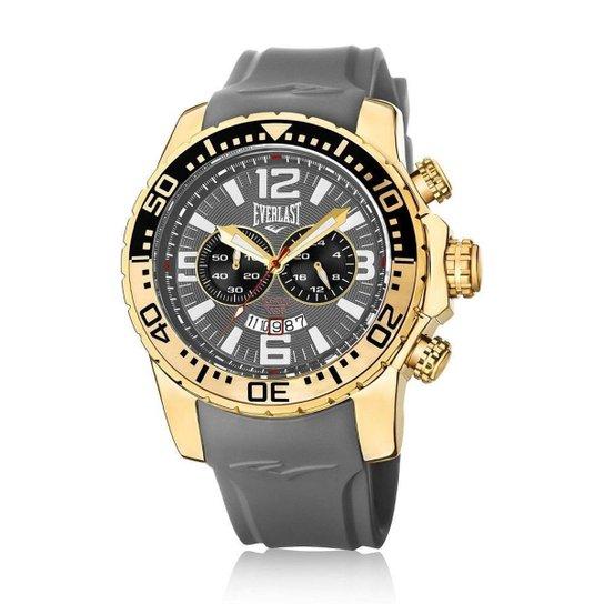 6d2a26aea1d Relógio de Pulso Everlast Pulseira Silicone E650 Masculino - Cinza+Dourado
