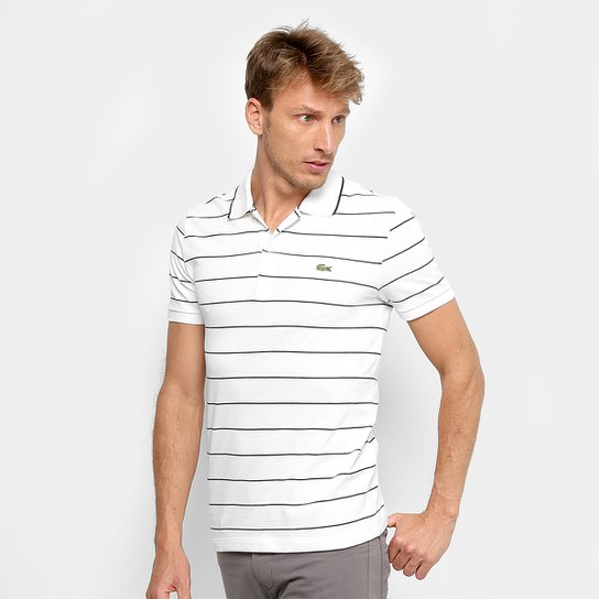 Camisa Polo Lacoste Listrada Slim Masculina - Branco+Marinho 0b1fbf3eabd76