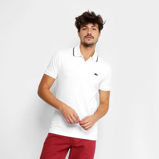 Camisa Polo Lacoste Slim Fit Algodão Pima Elastano Masculina - Branco +Marinho ef56025766