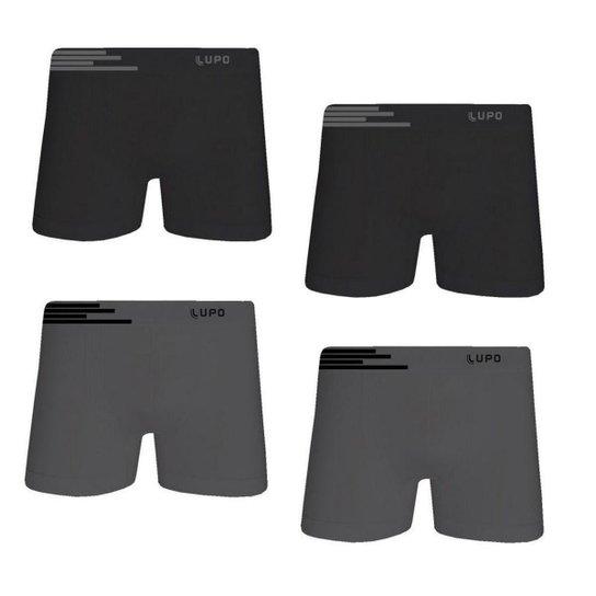 0887777e6 Kit Cueca Lupo Boxer Microfibra sem Costura 4 Peças Masculina - Grafite+ Preto