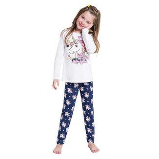 b53743f70 Pijama Manga Longa Infantil Kyly Unicórnio Feminino