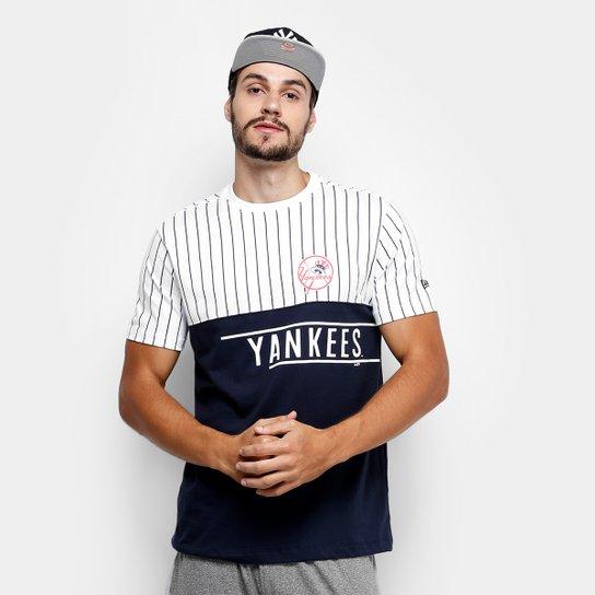 Camiseta MLB New York Yankees New Era 21 Stripe Team Masculina - Branco+ Marinho 5f3ca85f114