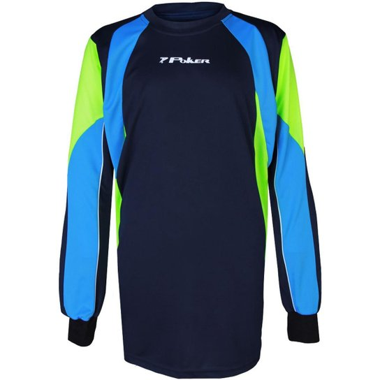 9b9fa434769de Camisa Poker Infantil Goleiro Piola Masculina - Azul+Verde Limão