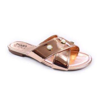 c564c0e452 Rasteira Thamy Shoes Tiras Cruzada Specchio Pérolas Feminina