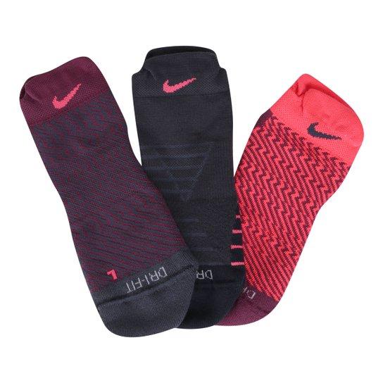 Meia Nike Sem Cano Dri-Fit Cushion Pacote Com 3 Pares Feminina - Preto+ 09c418ef66988