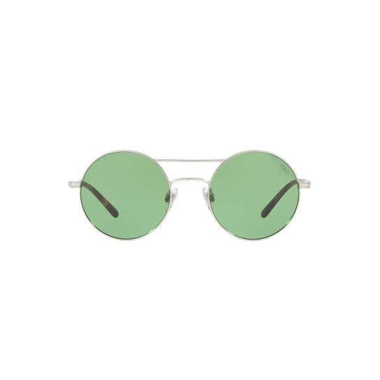 86cea068d38f7 Óculos de Sol Polo Ralph Lauren Redondo PH3108 Feminino - Prata+Verde