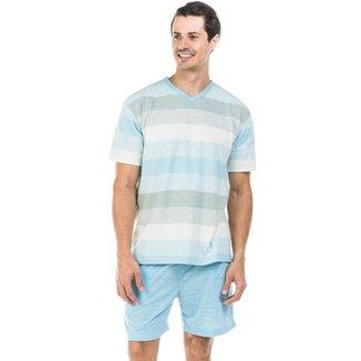 80644e425 Pijama Curto de Malha com Gola V Mescla Dulmar