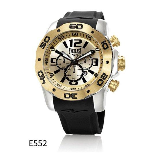 3a66258a3b6 Relógio de Pulso Everlast Cronografo Pulseira Silicone E552 - Dourado+Preto