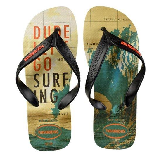 76a798bdc6df Chinelo Havaianas Surf Masculino - Bege e Preto - Compre Agora