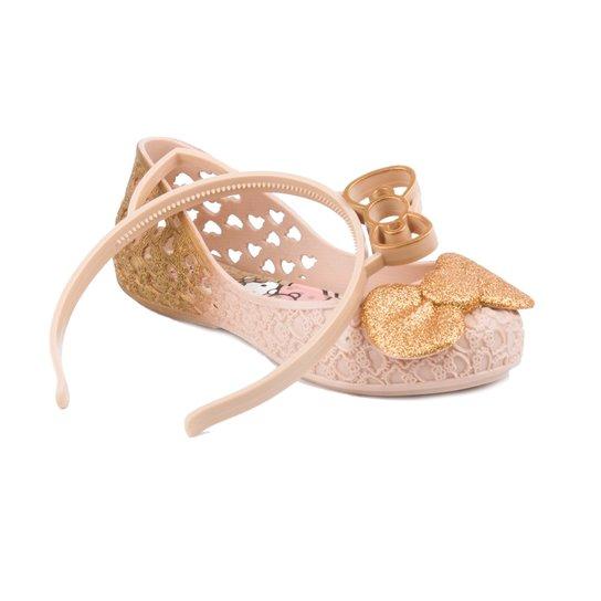 cfbaf53b4c Sapatilha Hello Kitty Grendene Glitter - Bege+Dourado