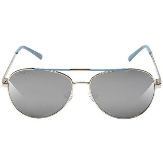 4785ec9481df4 Óculos De Sol Euro Feminino Oceu - Prata e Azul - Compre Agora