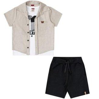 d6a6f4a57d Trijunto Infantil Camisa Regata e Bermuda Boca Grande Masculino