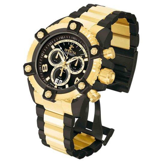 90c19fb7406 Relógio Invicta Reserve Analógico 013018 Masculino - Dourado e Preto ...