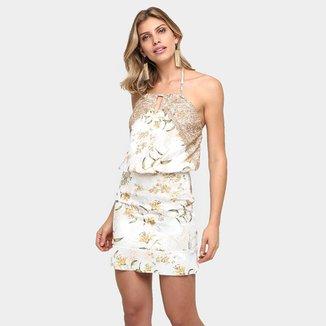 6e224d01a Vestido Bana Bana Blusê Floral Renda