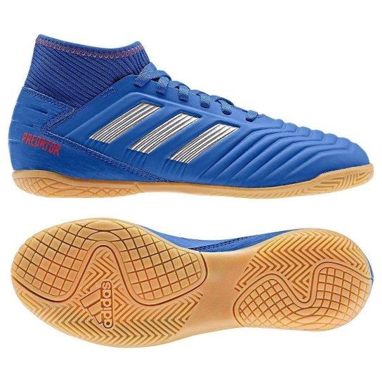 730ae1fe8b Chuteira Futsal Infantil Adidas Predator 19 3 IN - Azul e Prata ...