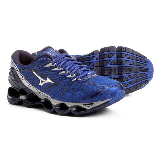 1e2da0a770 Tênis Mizuno Wave Prophecy 7 Masculino - Azul e Prata - Compre Agora ...