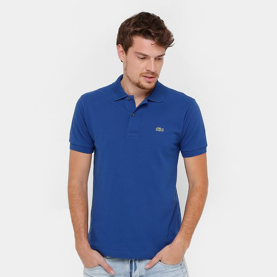 14974afe0ca Camisa Polo Lacoste Original Fit Masculina - Azul e Branco - Compre ...