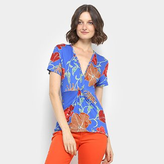 Blusa Estampada Floral Colcci Manga Curta Feminina d7906ac3f65