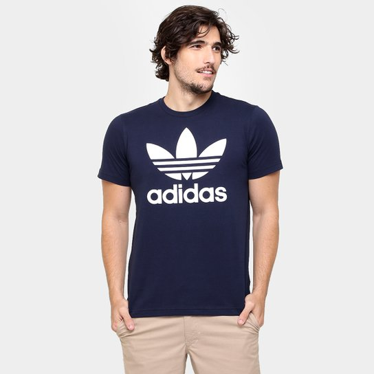 25c1a6c5311 Camiseta Adidas Originals Trefoil - Marinho+Branco