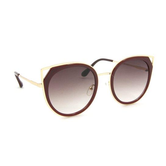 Óculos de Sol Gatinha Retrô Redondo Marsala - Compre Agora   Zattini b6df65bc79