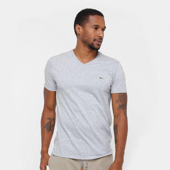 c0c061d0e Camiseta Lacoste Gola V Regular Fit Masculina - Mescla - Compre ...