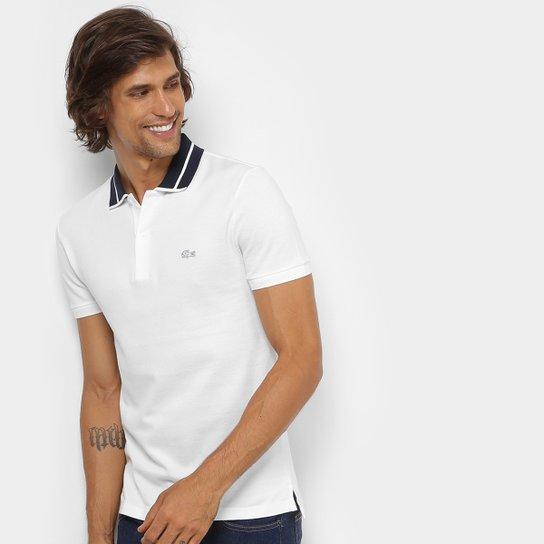 a586712c024 Camisa Polo Lacoste Piquet Slim Fit Fancy Contraste Masculina - Branco