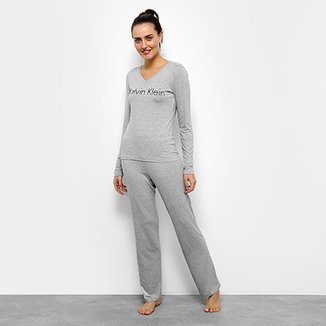 Pijama Calvin Klein Manga Longa Feminino 77fde1f45de97