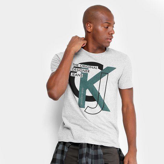 3a775c5f234e1 Camiseta Calvin Klein Slim The Original Designer Jeans Masculina - Mescla