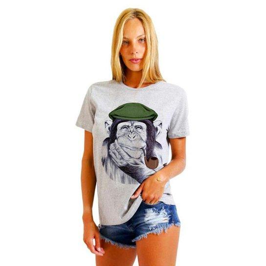af3d3add9c Camiseta Joss Feminina Estampada Macaco Boina - Mescla - Compre ...