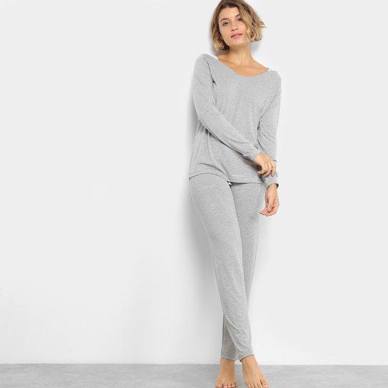 3741c182157b46 Pijama Camiseta com Renda Manga Longa + Calça Lupo Feminino - Mescla
