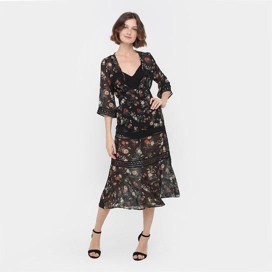 41e81c956 Vestido Colcci Evasê Longo Floral Renda - Compre Agora | Zattini
