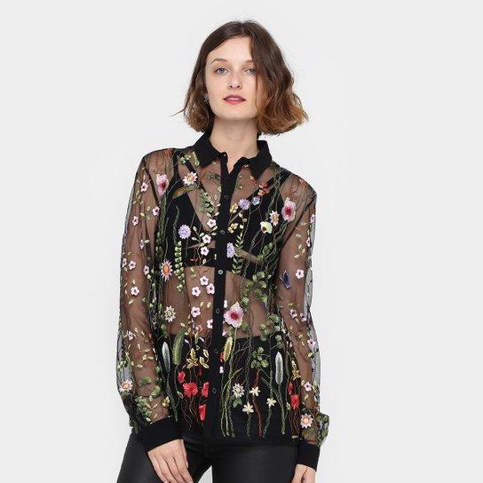 Camisa Colcci Transparente Floral Manga Longa Feminina - Compre ... 15e77e9ac2c